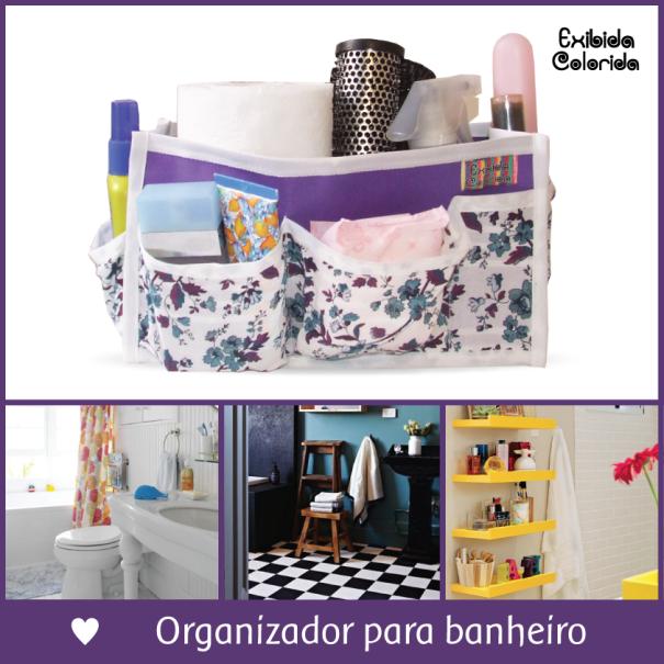 organizador para banheiro, exibida colorida